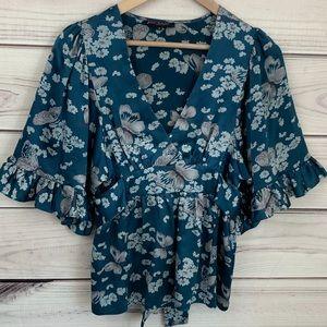 BETSEY JOHNSON VSCO Girl Floral Butterfly Silk Top